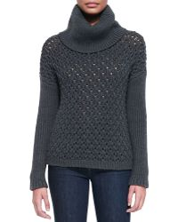 Alice + Olivia Chunky-knit Dropped-shoulder Turtleneck - Lyst
