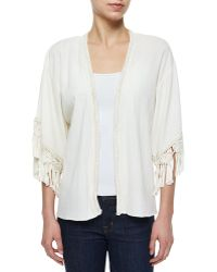 Calypso St. Barth - Olami Crochet-trim Sheer Cardigan - Lyst
