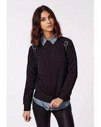 Missguided Pujita Ribbed Sweatshirt Black - Lyst