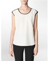 Calvin Klein White Label Embossed Faux Snake + Faux Leather Accent Cap Sleeve Top - Lyst