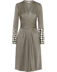 Issa Penelope Satin Twill-Trimmed Silk-Blend Jersey Dress - Lyst