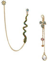 Betsey Johnson Multi Charm and Snake Mismatch Drop Earrings - Lyst