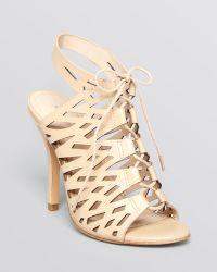 Pour La Victoire Open Toe Lace Up Sandals - Yermark High Heel - Lyst