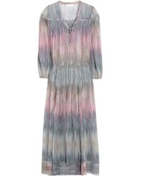 Zimmermann Writer Tuck Striped Silkgeorgette Dress - Lyst