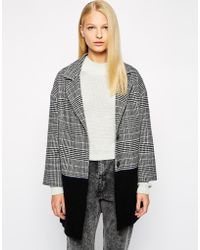 Helene Berman Colour Block Collar Revere Coat In Check black - Lyst