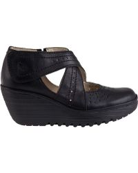 Fly London Yepe Wedge Pump Black Leather - Lyst