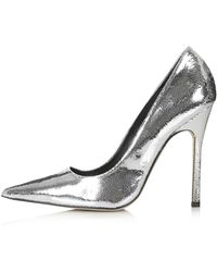 Topshop Gallop Metallic Court Shoes - Silver - Lyst
