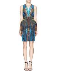 McQ by Alexander McQueen Vneck Print Dress - Lyst