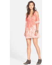 Free People 'Penny Love' Print Cold Shoulder Dress - Lyst