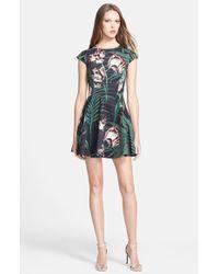 Ted Baker 'Florell' Palm Floral Print Neoprene Skater Dress - Lyst