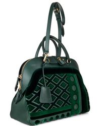 Burberry Prorsum Milverton Velvet and Leather Bowling Bag - Lyst