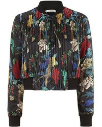 Alice + Olivia Drapey Pleated Floral Bomber Jacket - Lyst