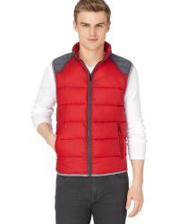 Calvin Klein Red Puffer Vest - Lyst