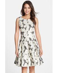 Helene Berman Floral Jacquard Drop Waist Dress - Lyst