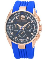 Vince Camuto Men S Blue Silicone Strap Watch 47mm Vc 1052blrg Lyst
