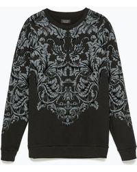 Zara Printed Sweatshirt black - Lyst