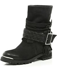 River Island Black Suede Chain Embellished Biker Boots - Lyst