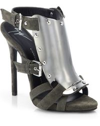 Giuseppe Zanotti Suede Side-Buckled Shield Sandals - Lyst