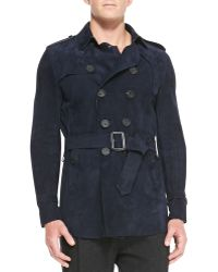 Burberry Prorsum Suede Trench Coat - Lyst