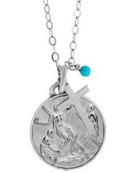Tateossian - St. Andrew Medallion Necklace In Silver With Turquoise - Lyst