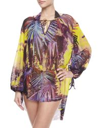 Jean Paul Gaultier - Palm Leaf-print Long-sleeve Coverup - Lyst