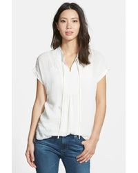 Pleione Textured Short Sleeve Peasant Top - Lyst