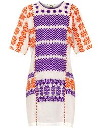 Figue Luz Half-Sleeved Embroidered Cotton Dress multicolor - Lyst