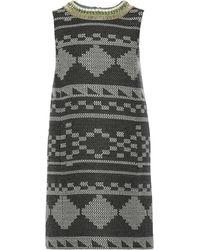 Matthew Williamson Embroidered Jacquard-Knit Mini Shift Dress - Lyst
