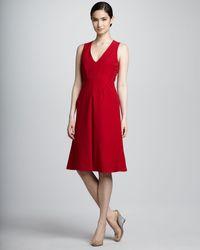 Valentino Pleated Bib Aline Dress Red 6 - Lyst