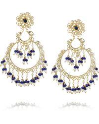 Isharya - Moon Bali Goldplated Pearl And Faux Lapis Earrings - Lyst