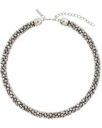 Topshop Haematite Faceted Bead Collar - Lyst