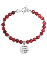 Aeravida - 'be You' Special Inspirational .925 Silver Pendant And Coral Bracelet - Lyst
