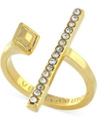 Vince Camuto - Gold-tone Pavé Crystal Open Bar Ring - Lyst