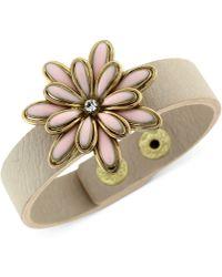 Jessica Simpson - Goldtone and Taupe Band Primrose Snap Bracelet - Lyst