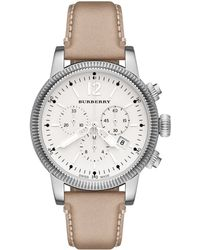 Burberry Womens Swiss Chronograph Trench Leather Strap 42mm - Lyst