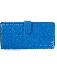 Bottega Veneta Blue Intrecciato Wallet - Lyst