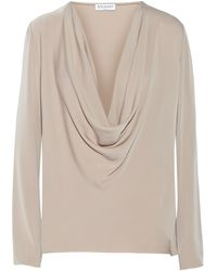 Vionnet Draped Silk-blend Sateen Top - Lyst