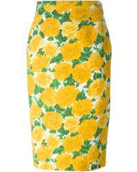 Michael Kors Peony Print Pencil Skirt - Lyst