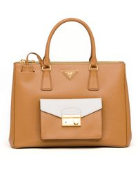 Prada Saffiano Bi-Color Pocket Tote Bag - Lyst