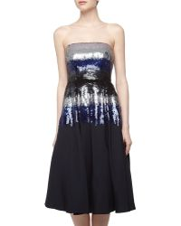 Nicole Miller Ombre Sequin Strapless Cocktail Dress - Lyst