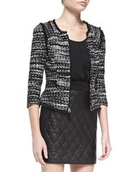 Milly Tweed Zip-front Jacket with Fringe Trim - Lyst