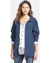 Eileen Fisher Hooded Cotton Anorak blue - Lyst