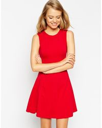 Asos Sleeveless Skater Dress With Cut Out Back Detail - Lyst