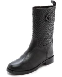 Tory Burch Marion Quilted Booties Black - Lyst