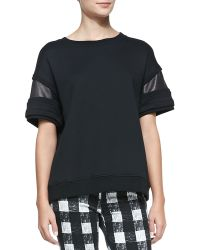 Rag & Bone Lira Leatherinset Fleece Top - Lyst