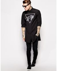 Asos Smart Shirt in Longline with Bull Print - Lyst