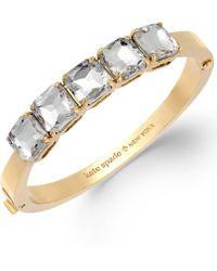 Kate Spade New York Gold-tone Clear Glass Stone Hinge Bangle Bracelet - Lyst