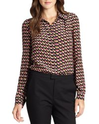 RED Valentino Silk Crepe De Chine Printed Blouse - Lyst