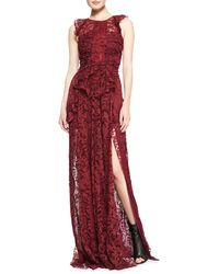 Burberry Prorsum Sleeveless Lace Gown with Thighhigh Vent - Lyst
