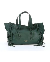 Valentino Green Leather Knotted Fringe Trim Tote - Lyst